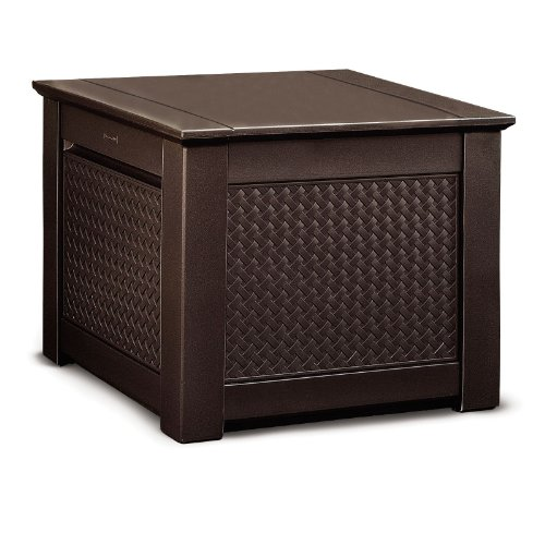 - Rubbermaid Cube Patio Chic Outdoor Storage, Dark Teak Basket Weave