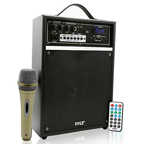 - Pyle Pro 300 Watt Outdoor Indoor Wireless Bluetooth Portable PA Speaker 6.5 inch Subwoofer Sound System with USB SD Card Reader, Rechargeable Battery, Wired Microphone, FM Radio, Remote - PWMAB250BK