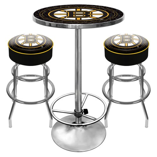 NHL Boston Bruins Ultimate Gameroom Combo - 2 Bar Stools & Pub Table