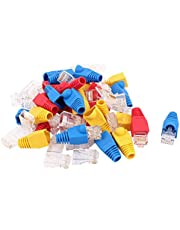 uxcell® 30pcs 8P8C Cat6 Patch RJ45 Head Shielded Modular End Adapter w Boot Protector Blue Red Yellow