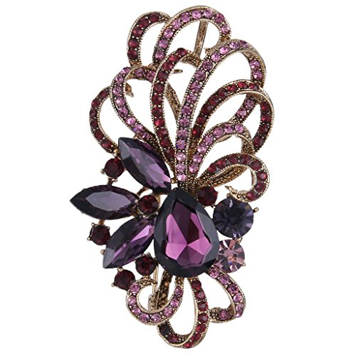 - EVER FAITH Antique Gold-Tone Austrian Crystal Flower Ribbon Teardrop Brooch Pendant Purple
