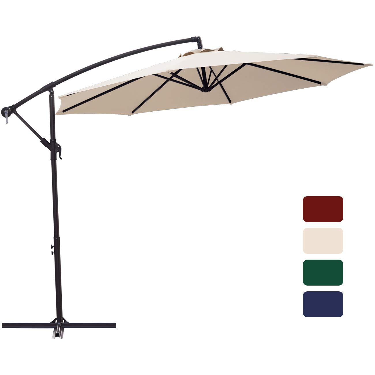 Patio Umbrella 10 ft Cantilever Offset Umbrella Outdoor Market Hanging Umbrellas Garden Umbrella & Crank with Cross Base, 8 Ribs (Beige)