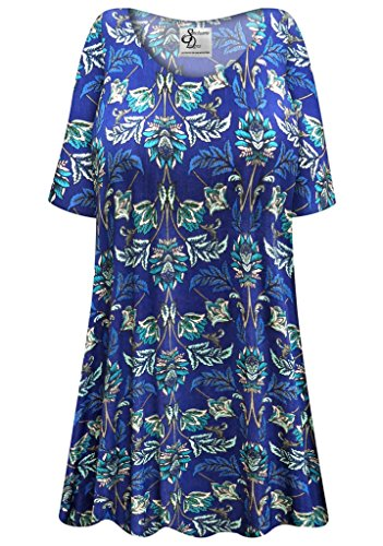 Blue Floral Slinky Plus Size Supersize Extra Long A-Line Top 2xT