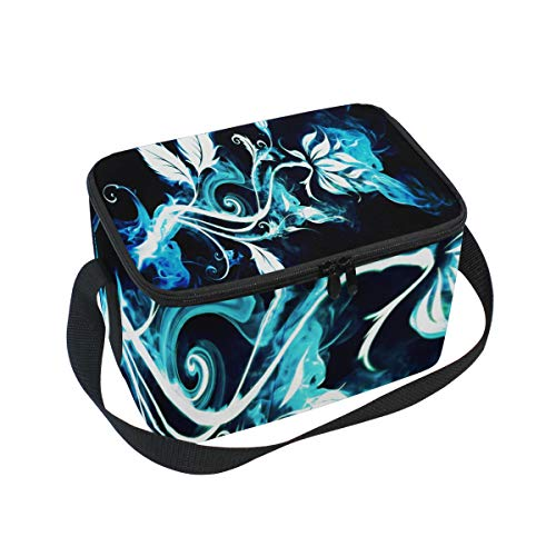 Abstract Blue White Smoke Insulated Lunch Bag Tote Bag Cooler Lunchbox for Picnic School Women Men Kids ()