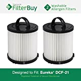 2 Eureka DCF-21 (DCF21) Washable & Reusable Allergen Filters. Designed by FilterBuy to Replace Eureka Part #'s 67821, 68931, 68931A, EF91, EF-91, & EF-91B.