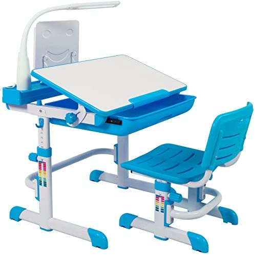 Best Choice Products Height Adjustable Children s Desk and Chair Set For Kids Work Station, Study Area- Blue