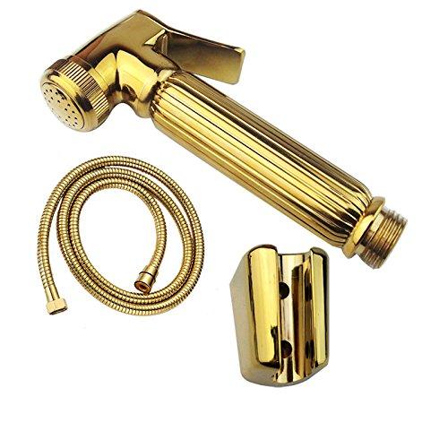 DDKD Laiton dor/é T/ête T/ête de pulv/érisateur Bidet poche salle de bains Wc Bidet douche douchette avec injecteur de la douche et du support de tuyau flexible