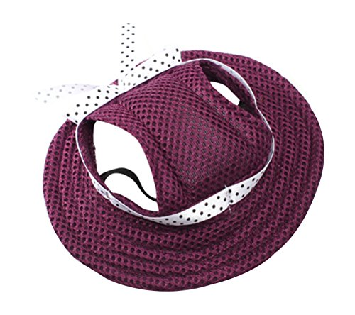 Freerun Round Brim Pet Cap Visor Hat Pet Dog Mesh Porous Cap with Ear Holes for Small Dogs - Purple, - Fashion Valley Hours