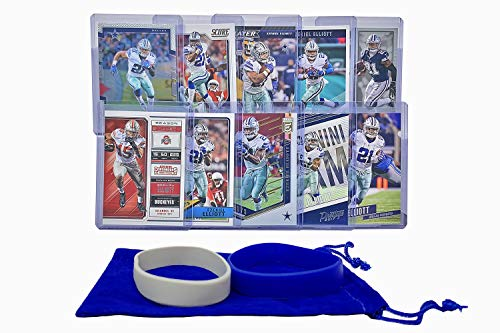 Ezekiel Elliott Football Cards (10) - Dallas Cowboys or Ohio State Buckeyes Trading Card Gift Bundle