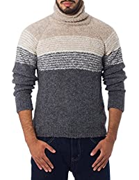 Grey and White Men's Baby Alpaca Turtleneck, Signs of the Earth'