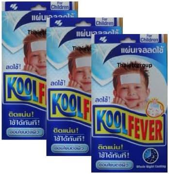 Allthailand- Koolfever GEL Antipyretic Kids Cool Fever 3 Box * 6 Sheets.