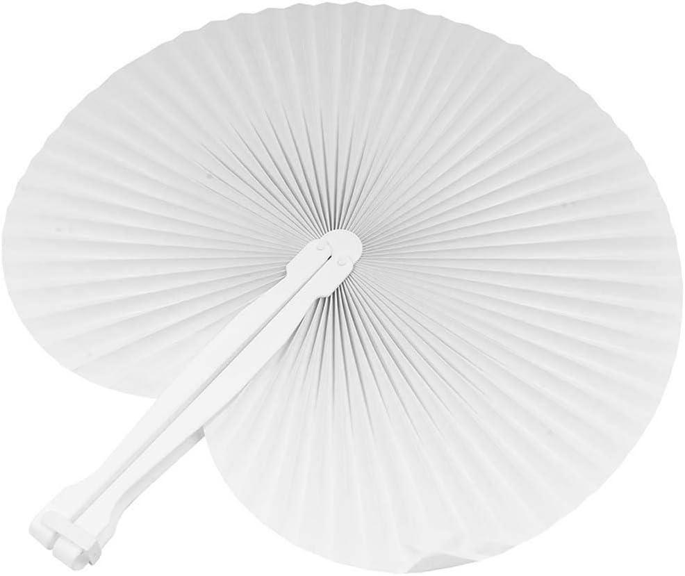 120 pezzi Ventaglio Ventagli da borsetta matrimonio segnaposto bomboniera wedding manico in plastica e chiusura a gancio colore BIANCO