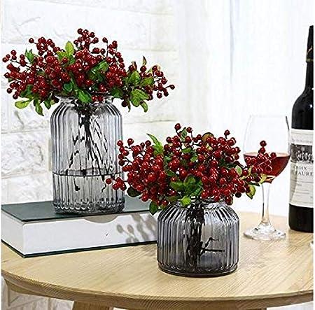 Ramo de flores artificiales Hemore 2 ramo de frutas para árbol de Navidad, decoraciones de corona, manualidades, uso para boda, fiesta (rojo), Halloween, ...