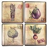 Manual 8-Inch Square Vintage Veggies Decorative Plates, Set of 4