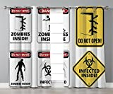 Thermal Insulated Blackout Grommet Window Curtains,Zombie Decor,Warning Signs for Evil Creatures Paranormal Construction Do Not Open Artwork,Multicolor,2 Panel Set Window Drapes,for Living Room Bedroo