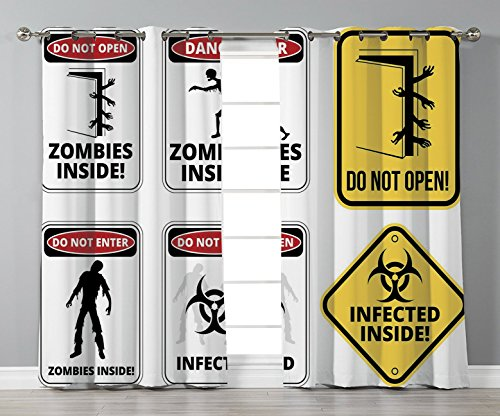 Thermal Insulated Blackout Grommet Window Curtains,Zombie Decor,Warning Signs for Evil Creatures Paranormal Construction Do Not Open Artwork,Multicolor,2 Panel Set Window Drapes,for Living Room Bedroo by iPrint