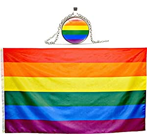 Eugenys Rainbow Flag (3x5 Feet) - 100% Super Polyester Material - FREE Bonus included - Large Gay Pride Flag With Brass Grommets - Perfect Banner For Hanging Indoor/Outdoor