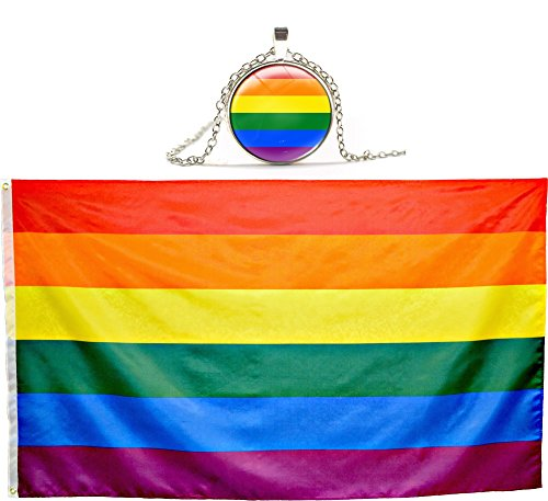 Eugenys Rainbow Flag (3x5 Feet) - 100% Super Polyester Material - FREE Bonus included - Large Gay Pride Flag With Brass Grommets - Perfect Banner For Hanging Indoor/Outdoor (Pride Pin American)