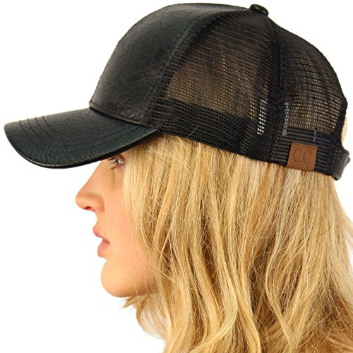 CC Everyday Mesh Trucker Faux Leather Plain Blank Baseball Cap Hat Solid Black - Leather Dog Cap