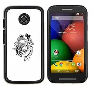 Qstar Arte & diseño plástico duro Fundas Cover Cubre Hard Case Cover para Motorola Moto E (Hipster Tatuaje)