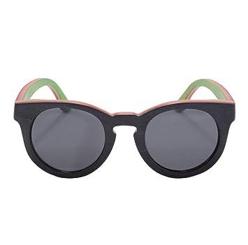 HAOYUXIANG Europäische Und Amerikanische Mode Sonnenbrille Holz Polarisierte Gläser,Brown