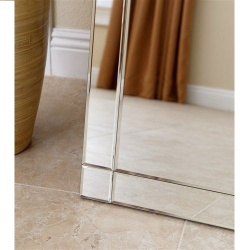 MyEasyShopping Modern Full Length Floor Standing Beveled Mirror in Silver Finish Mirror Floor Beveled Full Standing Length Wall Free Large Mirrors Body Lean -