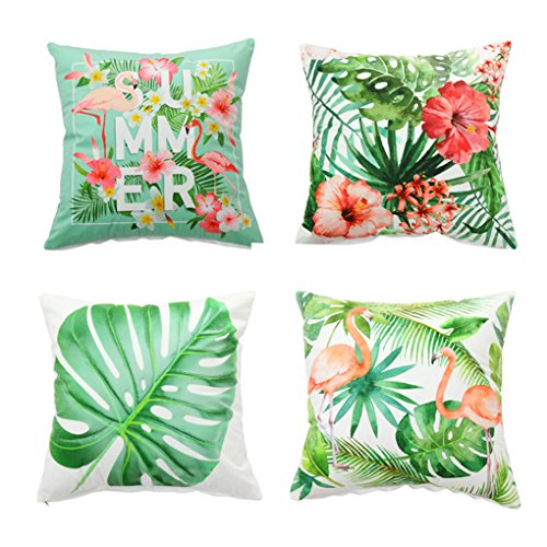 Set Palm Sunday (Set of 4,Soft Velvet Decorative Throw Pillow Cover Case set Flamingo&Palm Tree Pattern Accent Handmade Square Couch Cushion Cover Case Sham for Sofa Chair Car 18x18 Inch 45x45cm (design 2))