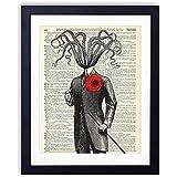 Victorian Gentleman Octopus Upcycled Vintage Dictionary Art Print 8x10
