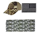 Cap Mesh Kryptek Highlander + USA PATCH FOLIAGE RIGHT + ACU Digital Shemagh