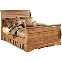 Ashley Furniture Signature Design - Bittersweet Vintage Casual Sleigh Bedset - King Size Bed - Light Brown