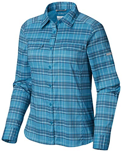 Columbia Women's Silver Ridge Lite Plaid Long Sleeve Shirt, Modern Turquoise Small Plaid, Large