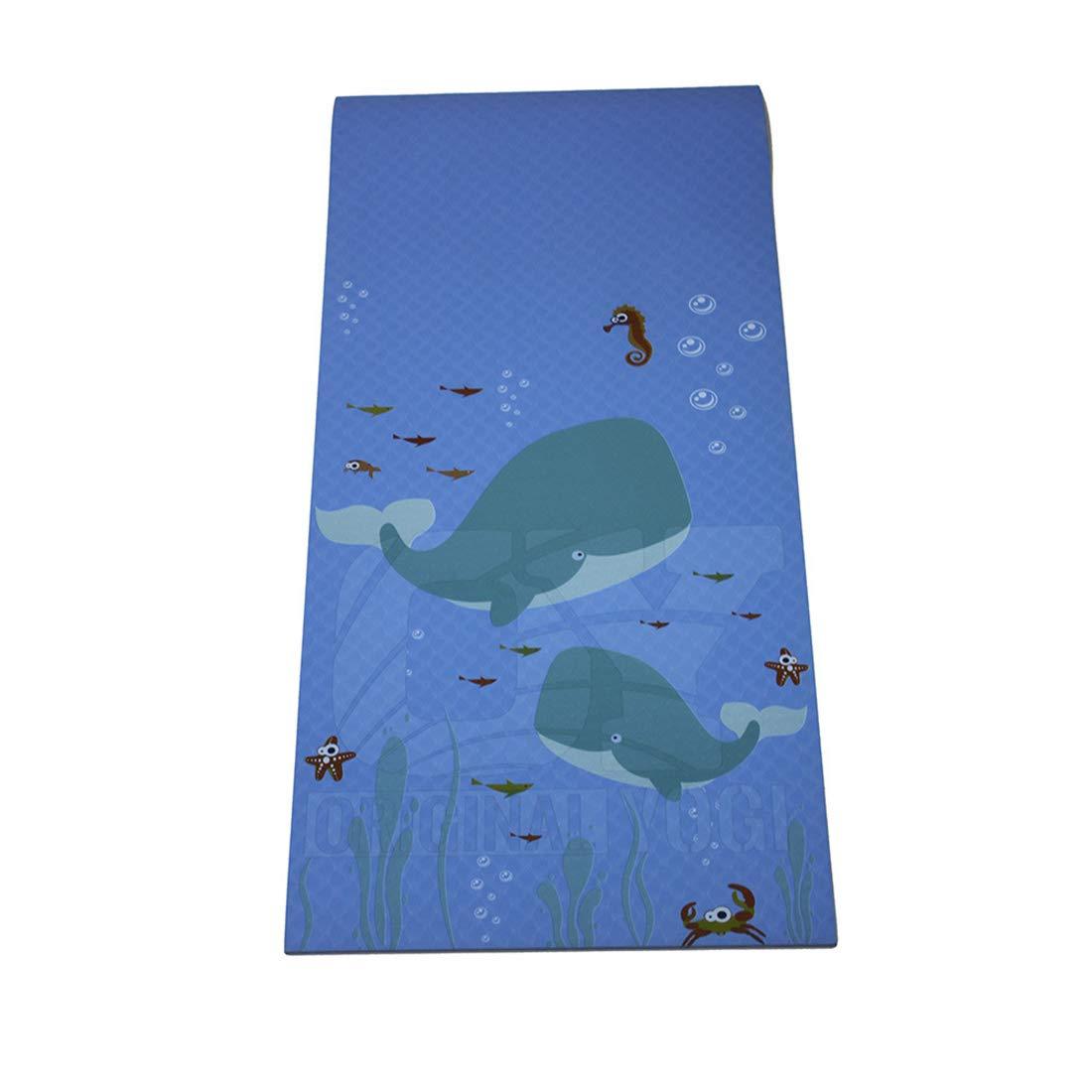 AROTOVL TPE6mm Yogamatte Umweltfreundliche köstliche Fitnessmatte für Fitnessstudio, Familie (Farbe   Blau, Größe   183cm)