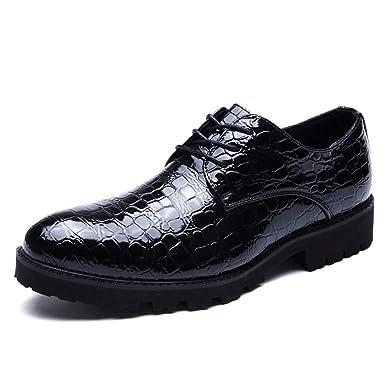 7439122bf216 Hilotu Men s Tuxedo Shoes Fashion Cap Toe Dress Shoes Formal Patent Black Lace  up Oxfords (