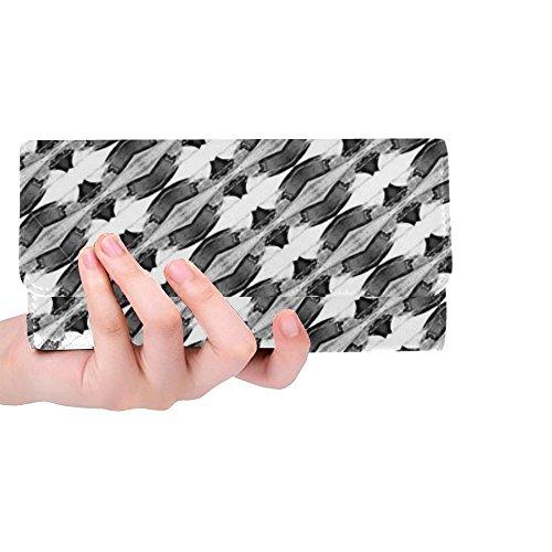 Sox Black Tri Fold Wallet - Unique Custom Black White Light Abstract Bottom Women Trifold Wallet Long Purse Credit Card Holder Case Handbag