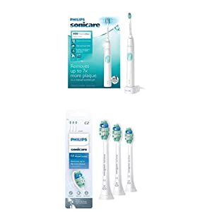 Philips Sonicare ProtectiveClean 4100 Electric Rechargeable Toothbrush with Genuine Philips Sonicare Optimal Plaque Control replacement toothbrush heads, White 3-pk