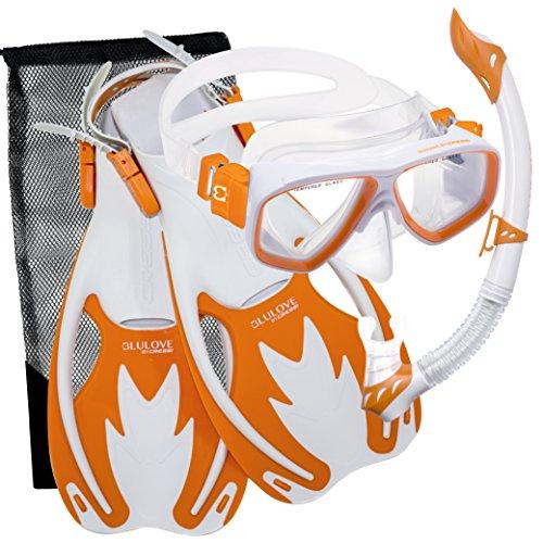 Cressi Junior Rocks Mask Fin Snorkel Set (White Orange, Small/Medium)