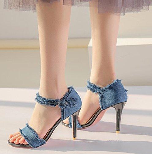 Sandales Jean Ouvert Aisun Mode Bout Bleu Femme Bleu Clair tXqYwRYZ