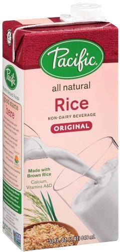 Pacific Natural Foods Rice Non-dairy Beverage, Plain, 32-ounce Containers [Pack of 4]