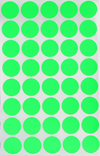 Round stickers color dots Labels 19mm 3/4 inch - NEON GREEN - 600 Pack by Royal Green (Medical Chart Cabinet)