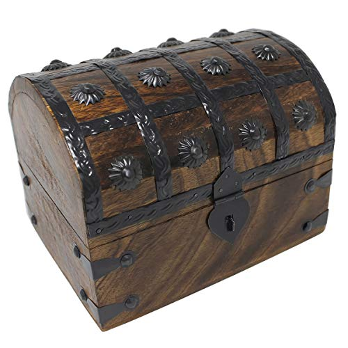 Nautical Cove Treasure Chest Keepsake and Jewelry Box Wood - Toy Treasure Box Large (8x6x6)