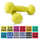 Neoprene Dumbbell Pairs by Day 1 Fitness - 12 Sizes of Pairs Available, 1-20 Pounds - Non-Slip, Hexagon Shape, Color Coded, Easy To Read Hand Weights for Muscle Toning, Strength Building, Weight Loss