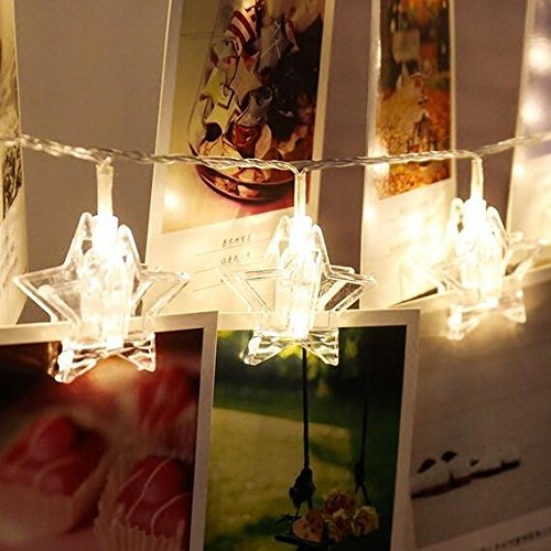 20 Led Star Photo Clips String Lights, Chris.W Christmas Indoor Fairy Lightstrings for Hanging Pictures Cards and Memos, Ideal gift for Dorms Bedroom Decoration (10FT, Warm (Christmas Star Picture)