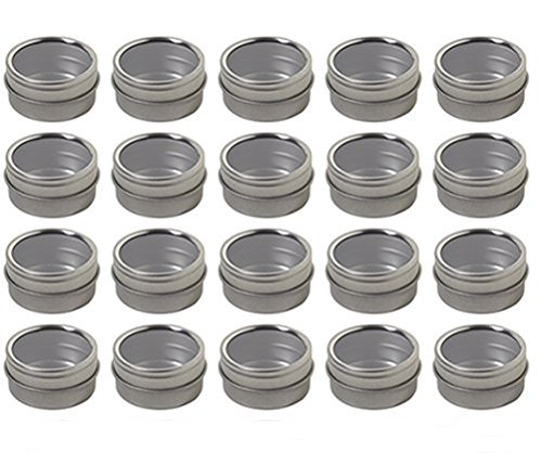 (Silver Metal Steel Tin Flat Container with Tight Sealed Clear Lid - .50 oz (20 Pack))