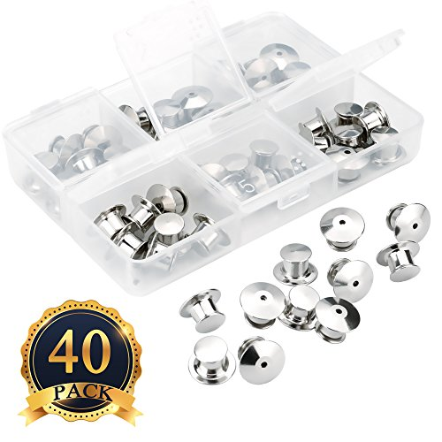 SUBANG 40 Pieces Pin Backs Locking Bulk Metal Pin Keepers Locking Clasp With Storage Case