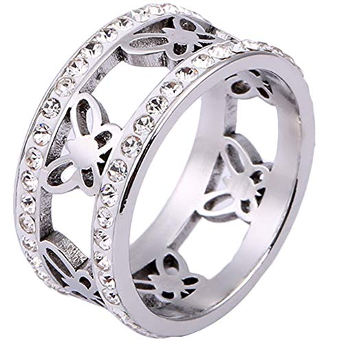 - Jude Jewelers Stainless Steel Butterfly Heart Eternity Wedding Band Ring (Silver Butterfly, 10)