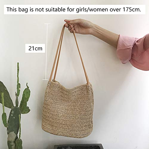 Women M1 Straw khaki Shoulder Weave Girls Khaki for Handbag Bag Bag Howoo Bag Bag Bucket pxvqd1pOw