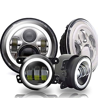 Angel Eye 7In Round DOT Approved Jeep Wrangler chrome LED Headlights with DRL Amber Turn Signal Hi/Lo Beam + 4 inch Halo Fog Lights for unlimited Sahara JKU rubicon Hummer H2 Cruiser FJ JK TJ LJ CJ
