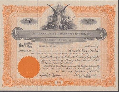 Process Stock (Economical Tool Die Manufacturing Processes stock certificate Bridgeport CT 1935)