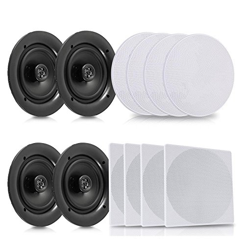 Pyle 5.25 4 Bluetooth Flush Mount In-wall In-ceiling 2-Way Speaker System Quick Connections Changeable Round/Square Grill Polypropylene Cone & Tweeter Stereo Sound 4 Ch Amplifier 150 Watt (PDICBT256)