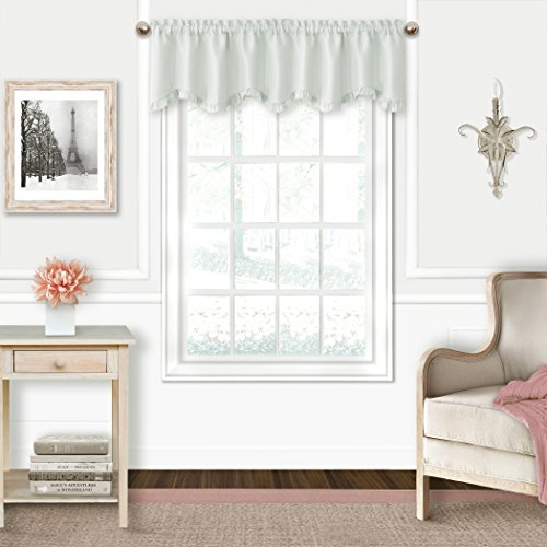 (Elrene Adaline Kids Pastel Faux Silk Solid Color Blackout Room Darkening Thermal Insulating Window Curtain/Single Scalloped Ruffled Valance by, 52 Inch Wide X 15 Inch Deep, Pearl Gray)